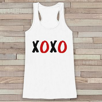 Womens Valentine Shirt - Cute Valentine's Day Tank Top - XOXO - Women's Hugs & Kisses Tank - Funny Valentines Shirt - White Tank Top