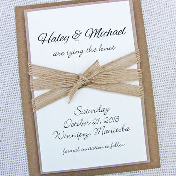 Burlap Ribbon Shabby Chic Rustic Wedding Save The Date Card