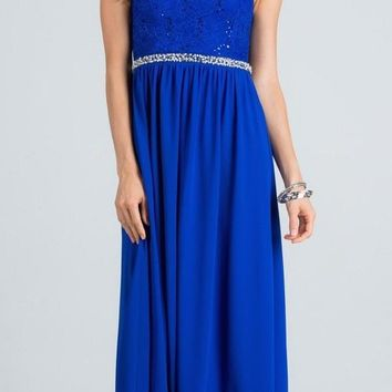 Empire Beaded Waist Floor Length Formal Dress Cut Out Back Royal Blue