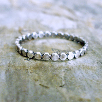 Tiny Black Dots Sterling Silver Stacking Band - Blackened Silver Ring