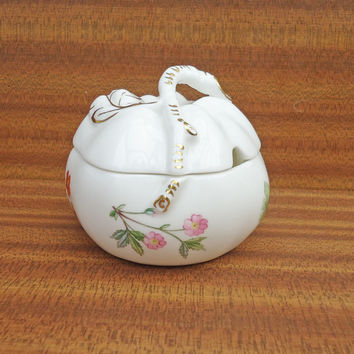Vintage Minton Jam & Jelly Jar Sugar Bowl with Lid,  England Meadow Flower and Gold China, UK Seller