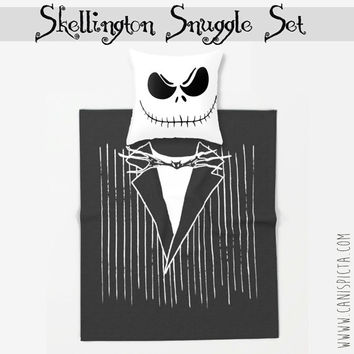 Nightmare Before Christmas Skellington Blanket Pillow Jack Set Throw Fleece Studio Home Decor Decorative For Gift Unique Fandom Halloween US