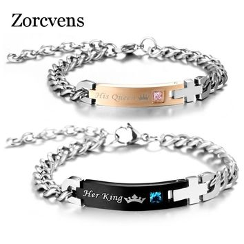 ZORCVENS DIY Her King and His Queen Couple Bracelets with Crystal Stone Charm Lover Wedding Bracelet for Women Men