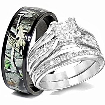 His TITANIUM Camo & Hers STERLING SILVER Wedding Rings Set Camouflage Black 3pcs (Size Men 11; Women 9)