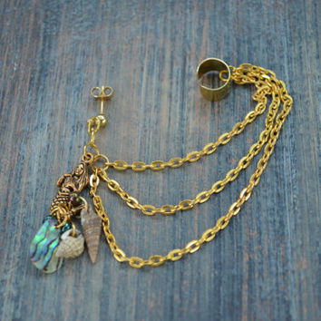 mermaid abalone brass ear cuff with chains mermaid abalone shells in boho gypsy hippie hipster  beach  resort and fantasy style