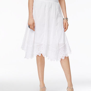 Style & Co Petite Cotton Handkerchief-Hem Eyelet Midi Skirt, Created for Macy's | macys.com