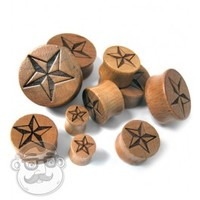 Nautical Star Engraved Wood Plugs (0G - 1 Inch) | UrbanBodyJewelry.com