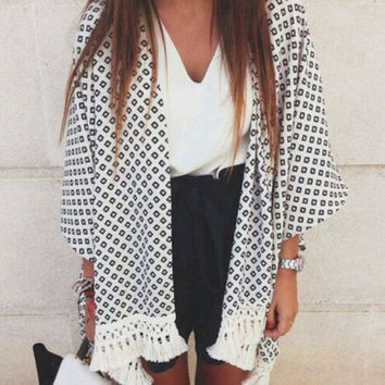 Black and White Boho Kimono Cardigan - Boho Chic - Beach Cover Up