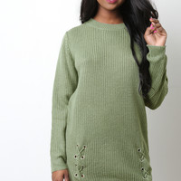 Side Lace Up Sweater Dress