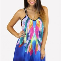 Multicolor Sleeveless Min Dress w/ Feather Print