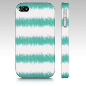 iPhone case, iPhone 4 case, iPhone 5 case, ikat stripes, ikat, teal green, aqua, sea green, white, turquoise striped iphone case