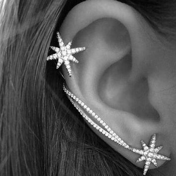 Punk Gothic Antique Silver Snowflake Rhinestone Clip Ear Cuff Wrap Stud Earrings + Gift Box