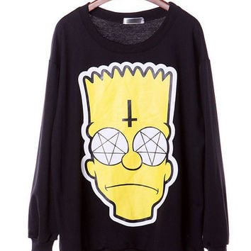 Dmart7deal H360 SexeMara  new style sweatshirts cartoon Simpson head print hoodies tops Black plus size pullovers