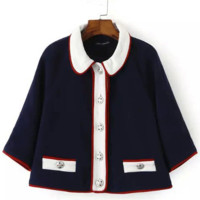 Navy Half Sleeves Cropped Woolen Cape Coat