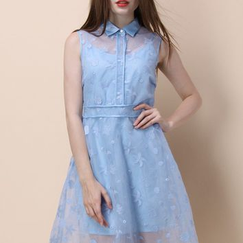 Ocean Cool Embroidered Organza Dress