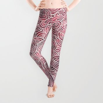 Burgundy and white doodles Leggings by Savousepate