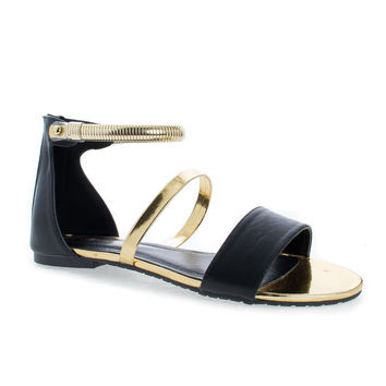 Suarez Black Gold By Shoe Republic, Strappy Open Toe Snake Chain Ankle Cuff Flat Sandals