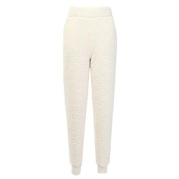 InstaHot White Thicken Flannel Elastic High Wiast Cargo Pants Loose Women