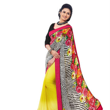 Charming Floral and Animal Printed Designer Yellow Chiffon Saree D-105