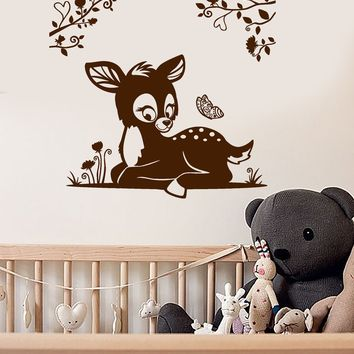 Vinyl Wall Decal Fawn Branches Nursery Art Kids Room Animal Stickers Unique Gift (ig3885)