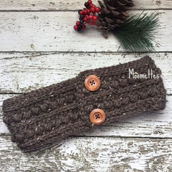 Handmade Ear Warmer Crochet Aran Brown Tweed Fisherman Nordic Chunky Earwarmer Headband Messy Bun Warmer Ponytail Head Band Wrap