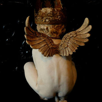 Shabby Chic Cherub With Crown French Nordic Religious Statuary Angel Wings Steampunk  Chateau Chic Rusty Crown Santos Putto