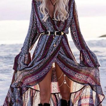Purple Bohemian Floral Print Irregular Sashes Front Slit High-Low Boho Maxi Dress