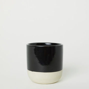 Small Stoneware Plant Pot - Black - Home All | H&M US