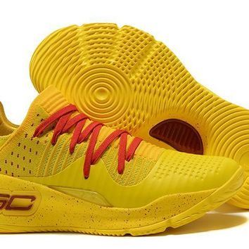 Under Armour Men's Sc30 Stephen Curry 4 Low Yellow/red Sport Sneaker | Best Deal Online