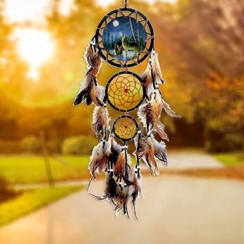 New Handmade Dream Catcher With Feathers Wall Hanging Decoration Ornament-Animal