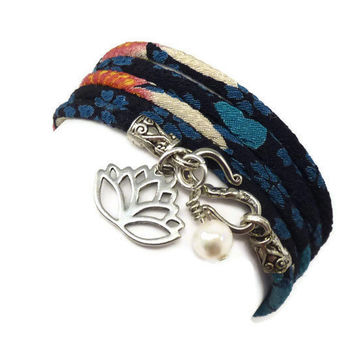 Wrap Bracelet made with Japanese Chirimen and Lotus Charm by charmeddesign1012