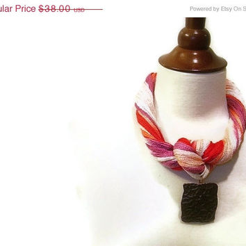 ON SALE 50% off - Fiber Summer Statement Necklace, Nautical, Multicolor Pink, Orange, Coral, Ivory, Lavender Yarn,  Lobster Clasp
