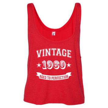 Vintage 1960 Aged To Perfection - Ladies' Cropped Tank Top