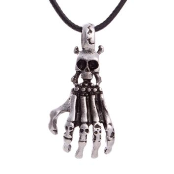 Retro skull leather cord short payment chain clavicle jewelry pendant necklace palm