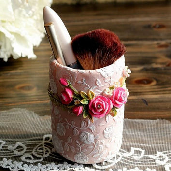 Pink Rose Lady Makeup Brush Holder Container Pen Holder Pot Resin Home Table