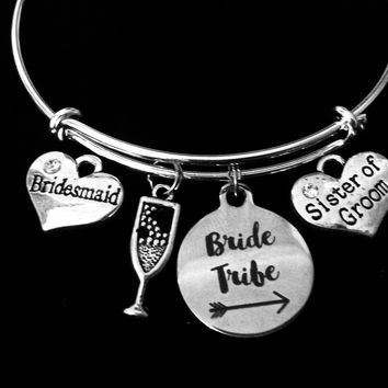 Bridesmaid Jewelry Sister of the Groom Bride Tribe Expandable Charm Bracelet Bangle Silver Adjustable Wire Bangle Wedding Shower Bridal Trendy One Size Fits All Gift Champagne