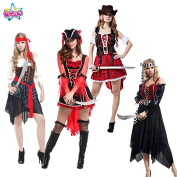 NoEnName Free shipping  Holiday/Party  Pirate Cosplay Costume Caribbean Pirates  Adult Women's Halloween Party Supplies