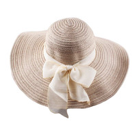 New Fashion Hats for Women Floppy Hat Wide Brim Bow Ornament Sun Hat Foldable Beach Cap Women