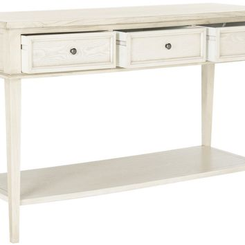 Manelin Console With Storage Drawers White Washed