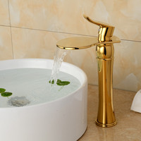 Luxury Deck Mount One Handle Basin Sink Gold Bathroom Faucets Faucet Golden Brass Bathroom Vanity Sink Mixer Taps B-1095M