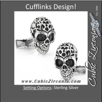 Men's Cufflinks- Sterling Silver Fatale Skulls Design