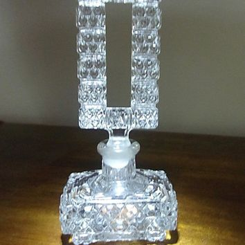 Pressed Clear Cut Glass Perfume Bottle Art Deco, Tall Rectangle Stopper, Vintage