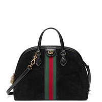 Gucci Ophidia Medium Web Suede Top-Handle Bag