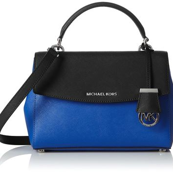 MICHAEL Michael Kors Ava Small Leather Satchel Electric Blue Black