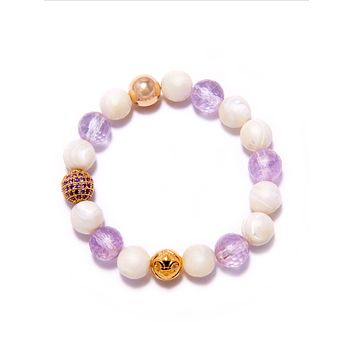 Women's Wristband with White Coral, Amethyst Lavender and Gold