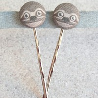 Sloth Fabric Covered Button Hairpins