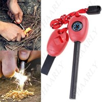 All-in-One Flint Fire Starter Whistle Compass Saw Ruler Outdoor Survival Kit - Chaarly
