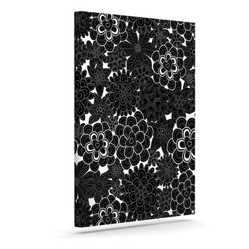 "Julia Grifol ""Flowers in White & Black"" Black White Canvas Art"