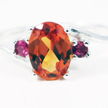 Orange Sapphire Oval and Ruby Accent Ring Sterling Silver, September Birthstone Ring, Ruby Accent Ring, Orange Sapphire Ring, 925 Ring
