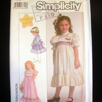 Lace Trimmed Dress Girls Size 5 - Vintage Simplicity 8404 Sewing Pattern Uncut